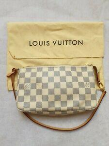 Genuine Louise Vuitton Cream Check Pouchette Handbag/Clutch Detachable Strap
