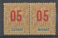 Colonie Guyane Paire 05 sur 30c brun Chiffres espacés tenant à normal. N* X3610
