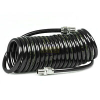 """HEAVY DUTY 250PSI Braided Poly Coiled Air Hose 3//8 X 20 FT Coil 1//4/"""" Male NPT"""