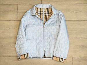Vtg Burberry London Womens Quilted Zip Up Jacket Light Blue Nova Check Lining S