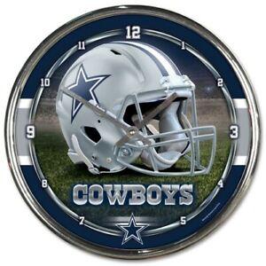 NFL - Dallas Cowboys - New Chrome Round Wall Clock  12 Inches Diameter