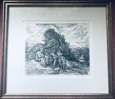 Vintage SIGNED Gladys Mock Engraving Day's End with Exhibit News Clipping