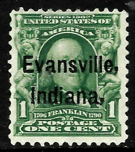 "Sc #300 ""Evansville Indiana"" Precancel 1901 Regular 1 Cent Franklin US 18A63"