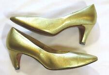 Balli Vintage 60's High Heel Shoes Crinkle Metallic Gold Leather Pumps Glam 7
