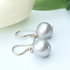 Freshwater Grey Pearl and Sterling Silver Drop Hook Earrings