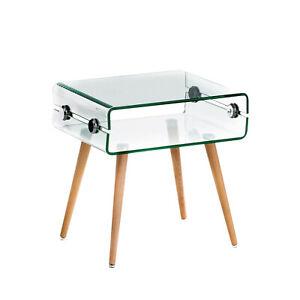 Tavolino tavolo basso curvato caffè salotto vetro cristallo gambe in legno z-40