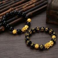 Feng Shui Black Bead Alloy Reichtum Armband mit goldenen WJ Schmuck M8A0