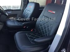 VW Transporter T4 Van Seat Covers-  2 Singles White bentley stitch X150BK-WT SL
