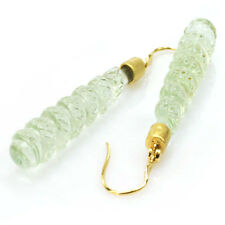 De Buman 31.71ctw Green Amethyst & Diamond Solid 18KY Gold Earrings