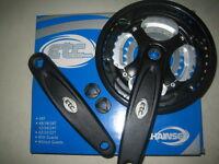 ETC bike / cycle triple crank crankset chainwheel + guard 24/34/42 Alloy Steel