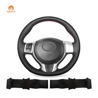 Hand Sewing Black Leather Car Steering Wheel Cover for Toyota Yaris 2012-2018