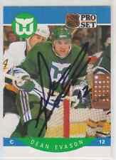 Autographed 90/91 Pro Set Dean Evason - Whalers