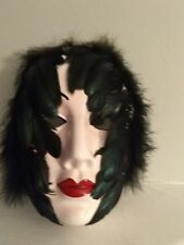 "Ceramic Decorative Mask, Black Swan with Feathers, 8.5"" tall"