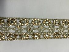ATTRACTIVE INDIAN FINE CUTWORK PEARL AND CRYSTALS JALI LACE/TRIM - SOLD BY METRE