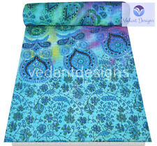 Indian Embroidery Kantha Quilt Bedspread Mandala Throw Cotton Blue