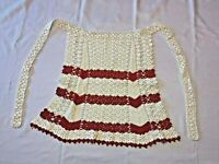 "Crocheted Red & White Hostess Apron Christmas Handmade Estate 59"" Tie A1 Vintage"