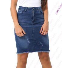 Womens Distressed Denim Skirt Ladies Rip Frayed skirts Size 36 - 42 Dark Blue