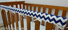 Baby Cot Crib Rail Cover Teething Pad Navy Blue Chevron 100% Cotton **REDUCED**