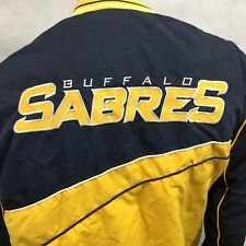 Buffalo Sabres Pullover Windbreaker Jacket Lined Sz Large Navy Blue Yellow