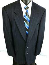Vtg PIERRE CARDIN Men NAVY BLUE Sport Coat CHALK STRIPE Jacket Wool Blazer 40 L