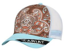 Ariat Womens Hat Baseball Cap Paisley Mesh Back Adjustable Teal Blue Brown Logo