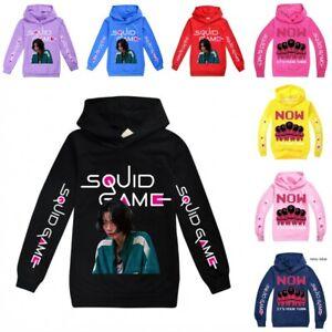 SQUID GAME Cartoons Kids Boys Top Hoodie Long Sleeve Hooded Pullover Casual UK