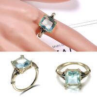 Vintage 925 Silver Aquamarine Gem Engagement Wedding Ring Jewelry Gift Size 6-10