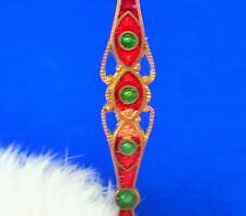 brooch red small enamel loss ce Attractive antique Guilloche enamel bar pin