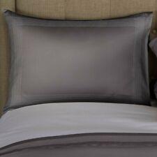 $300 FRETTE PORTO HOTEL SATEEN 2 KING SHAM EMBROIDERED STRIPES SLATE GREY NEW
