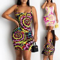 ❤️ Womens Tie Dye Boho Bodycon Mini Dress Ladies Sleeveless Clubwear Party Dress