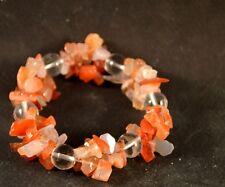 Bracelet en chips de cornaline et perle de quartz triple rang