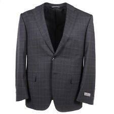 NWT $2295 CANALI Regular-Fit Gray-Navy-Sky Blue Check Wool Suit 42R (Eu 52)