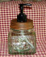 Rustic Kitchen~Bath square Mason Jar Soap / Lotion dispenser Primitive Farmhouse