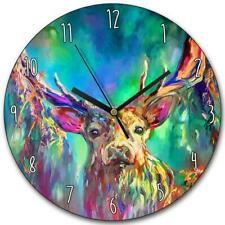 STAG MULTICOLOURED WOODEN CLOCK WALL MOUNT CLOCK BY SUE GARDNER