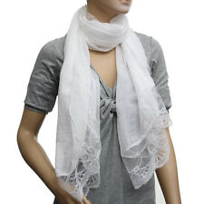 Woman Scarves Chiffon Lace Scarf Wrap Scarf white Q3D4