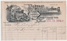 RARE - Buffalo NY Fruit Auction Company 1894 Advertising Billhead Great Graphics