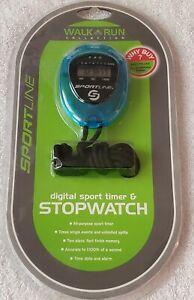 SPORTLINE DIGITAL SPORT TIMER & STOPWATCH WALK RUN COLLECTION TG2832AS BLUE NEW