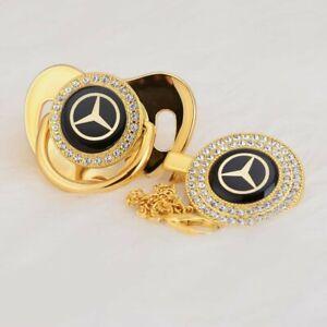 Baby Schnullerkette marken schnuller mit kette Mercedes schwarz gold set