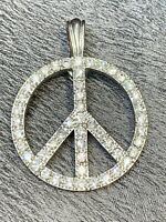 Vintage Clear Rhinestone Crystal  Peace Sign Silver Large Bold Necklace Enhancer