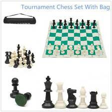 Plastic Tournament Chess Set, Roll-up Mat Camping Travel Amusement Gift 35x35cm
