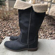TIMBERLAND Women's Shoreham Fold Down Leather Knee-High Boots Dark Gray 25668