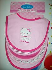Bon Bebe Bibs Girls 5pc Layette Set Baby Infant Hugs Hearts Cat Stripes NWT
