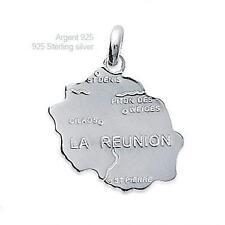 Pendentif Carte Pays Ile de La Réunion 15 mm Argent Massif 925 de Dolly-Bijoux