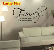 Large Family Wall Quotes decals Removable stickers decor Vinyl home art mural