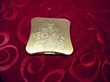 Vintage Ladies Powder Compact / Elgin American/ Gold Tone / Etched Flowers
