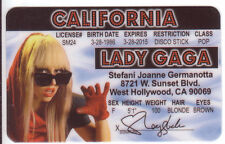 Lady Gaga Rock Star Born This Way novelty collectors card Drivers License