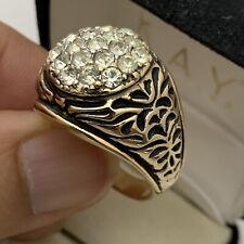 Men'S Ring Size 12 Fashion Vintage New listing 18Kt Hge Clear Faceted Stones