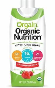 Orgain Organic Nutrition Shake, Strawberries & Cream, 11 Ounce, 12 Count