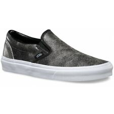 Vans Classic Slip On (Cracked Leather) Black Womens Casual Shoes