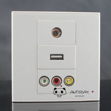 Wall Face Plate 3RCA  AV +TV + USB Charger  Socket Assorted Panel Faceplate